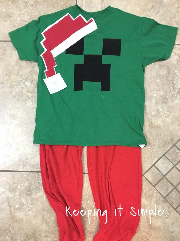 DIY Easy Minecraft Christmas Pajamas • Keeping it Simple