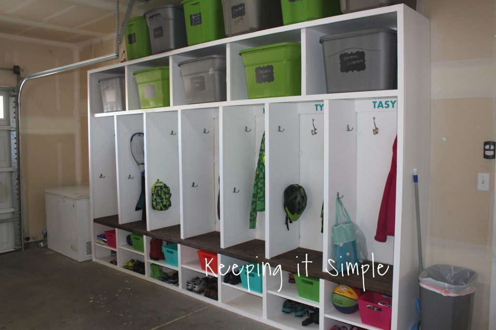 Diy garage mudroom lockers with lots of storage keeping it there is a place for everything they can put their coats in there their shoes backpacks sports equipment and more solutioingenieria Choice Image
