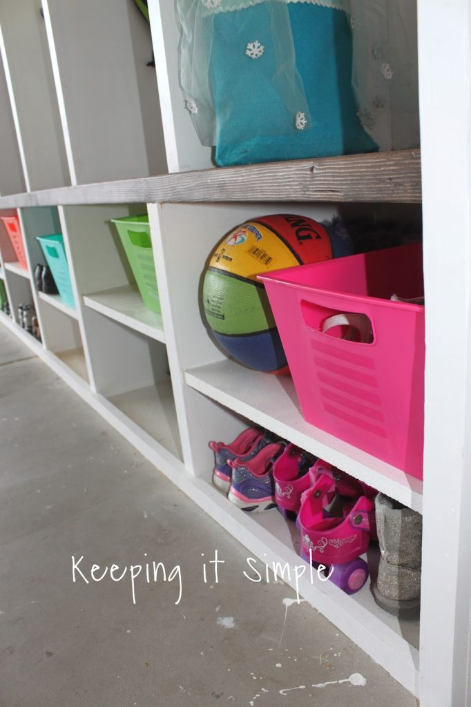 Diy garage mudroom lockers with lots of storage keeping it simple i can finally have my seasonalholiday decorations organized and up high so they arent in the way solutioingenieria Images