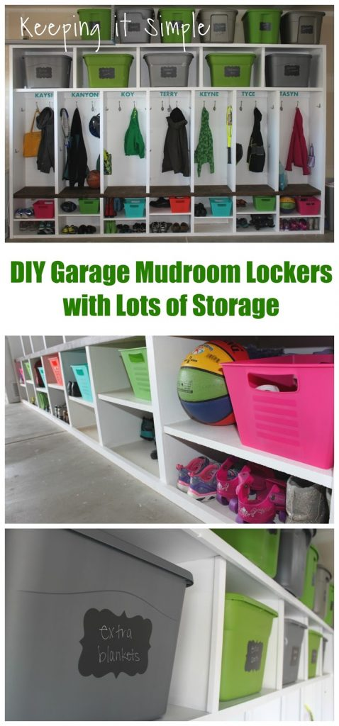 Diy garage mudroom lockers with lots of storage keeping it this is what our garage looked liked about 75 of the time so we knew that we needed to do something about it diy garage mudroom lockers with lots solutioingenieria Choice Image