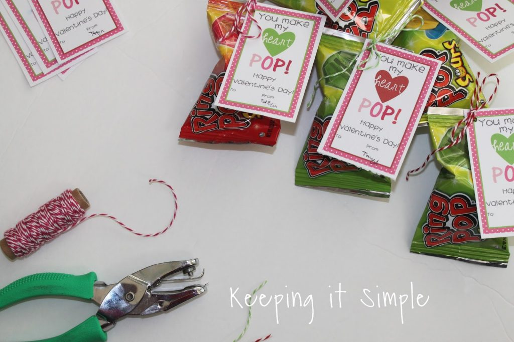 Homemade Valentines Ring Pop Valentine with Printable Keeping it