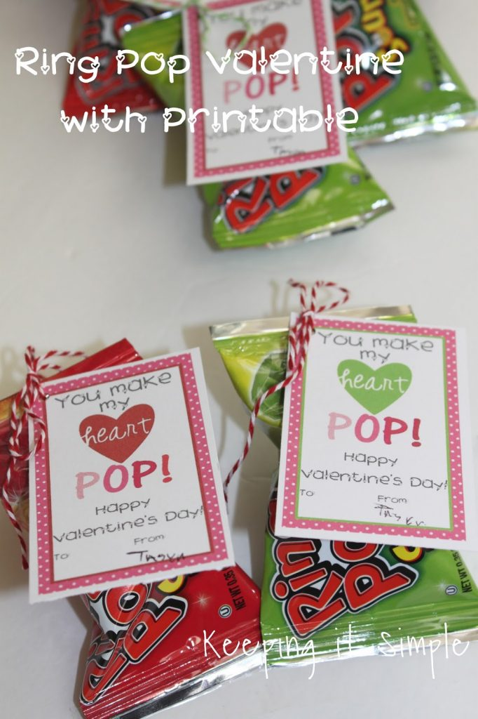 homemade valentines ring pop valentine with printable keeping it simple. Black Bedroom Furniture Sets. Home Design Ideas