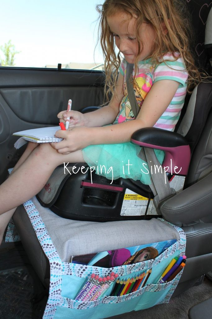 Diy Car Seat Organizer For Kids Snacks And Coloring Supplies