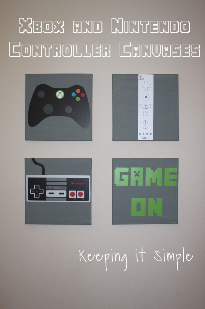 Here Are Some Super Simple Xbox And Nintendo Controller Canvases That I Made For Their Room