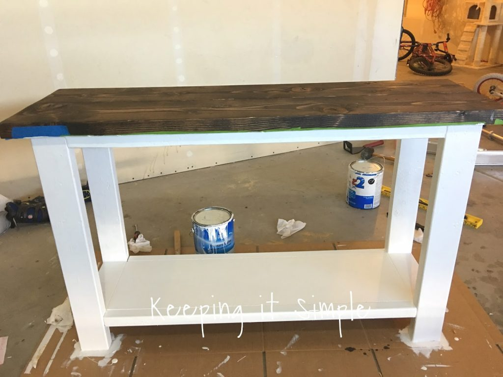 ... Sofa Table Top And Then Sanded And Primed The Legs And Shelf. Then I  Added Two Coats Of White Paint. I Also Painted The Bottom Of The Table Top  (and All ...