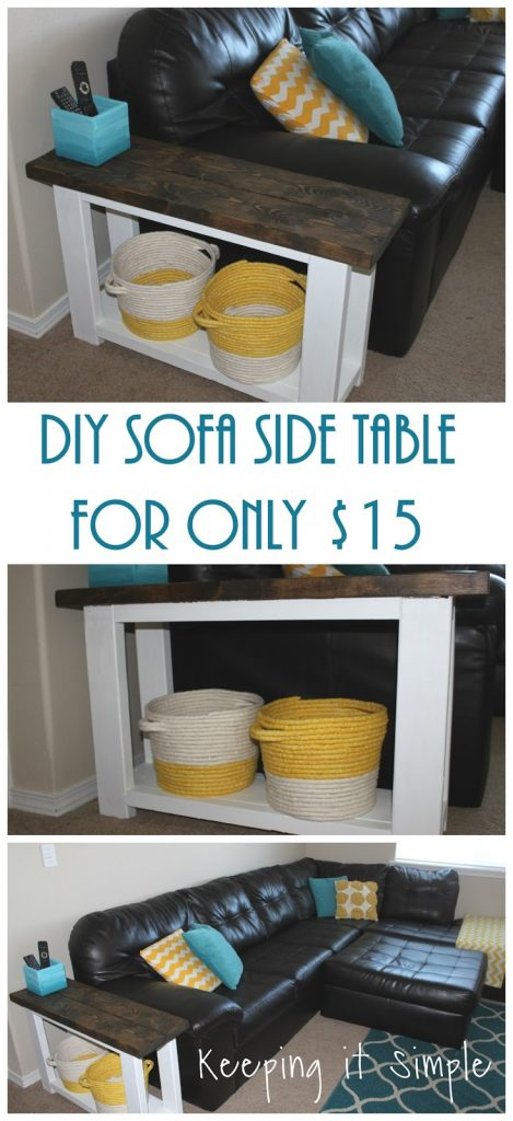 how to build a sofa side table for about 15 u2022 keeping it simple rh keepingitsimplecrafts com Sofa Table with Stools Sofa Table with Stools