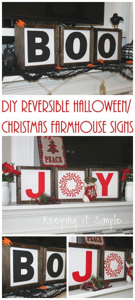 Diy Reversible Halloween Christmas Farmhouse Signs Keeping It Simple