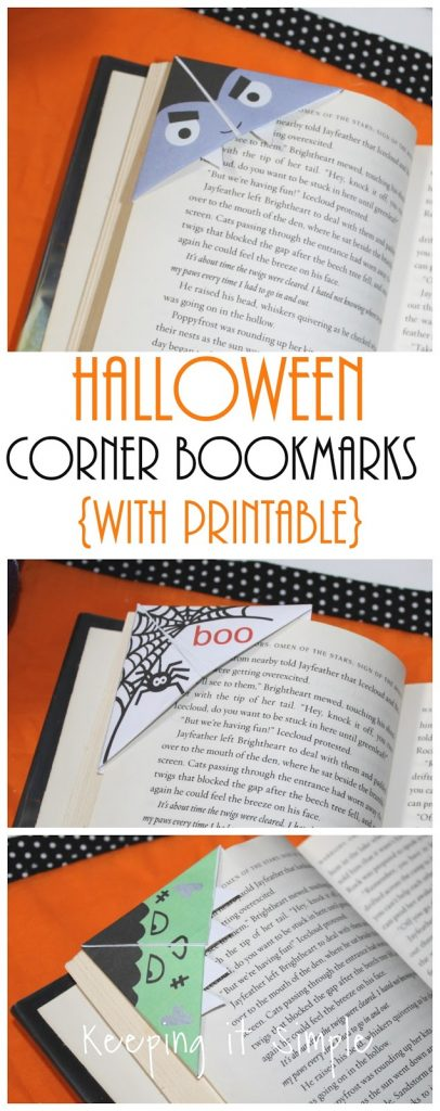 photo relating to Free Printable Corner Bookmarks referred to as Halloween Monsters Corner Bookmarks with No cost Printable